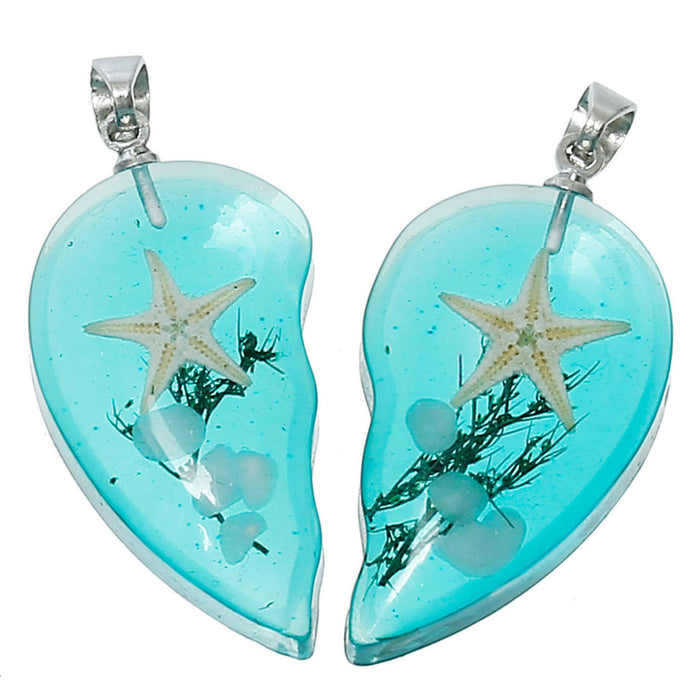 Resin Couples Broken Heart Pendant Charms, 34mm - 2 Pieces