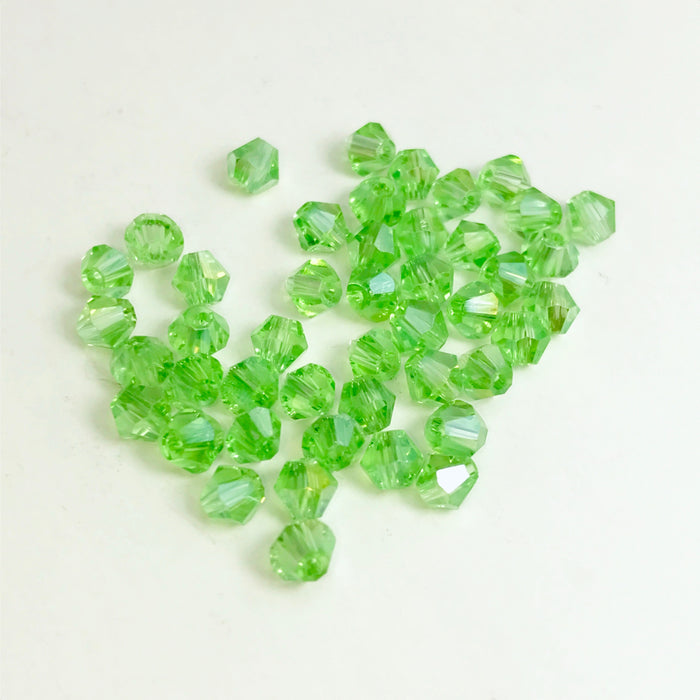 Light Green Glass Bicone Beads, 4mm - 100 Pack