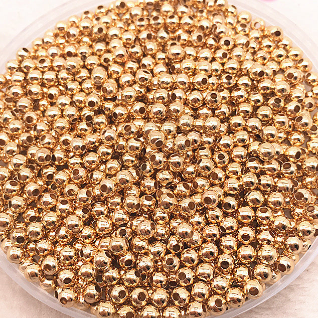 Light Gold Colour 3mm Round Metal Beads - 200 Pack
