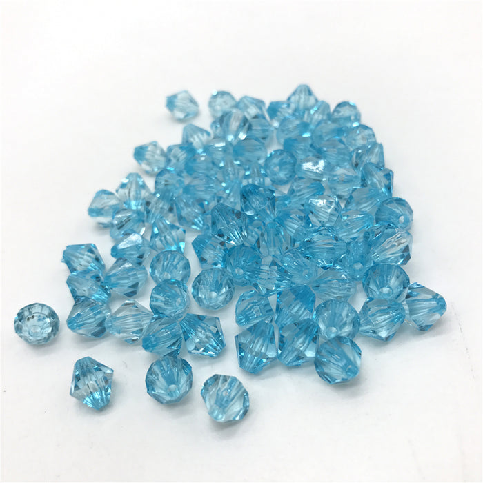 Light Blue Acrylic Bicone Beads, 6mm - 100 Pack