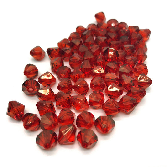 Red Acrylic Bicone Beads, 6mm - 100 Pack