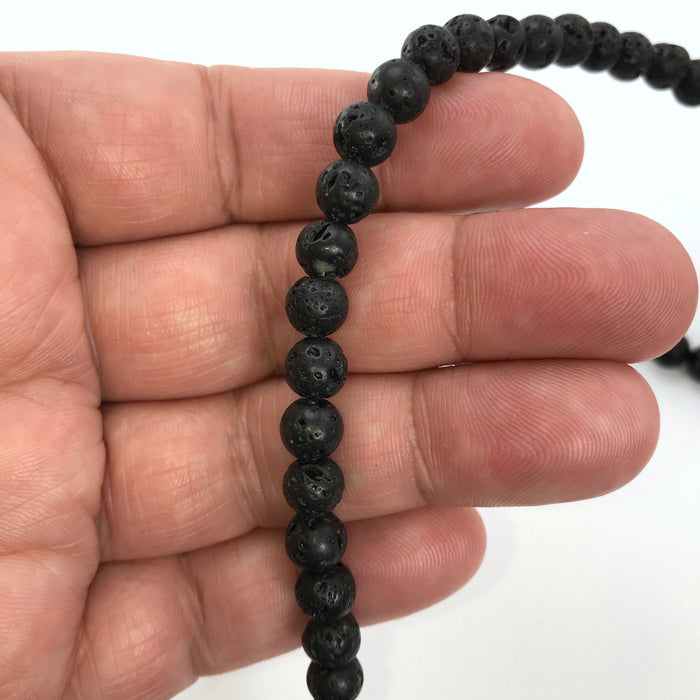 Natural Lava Beads 6mm, About 63 Beads - 15 Inch Strand