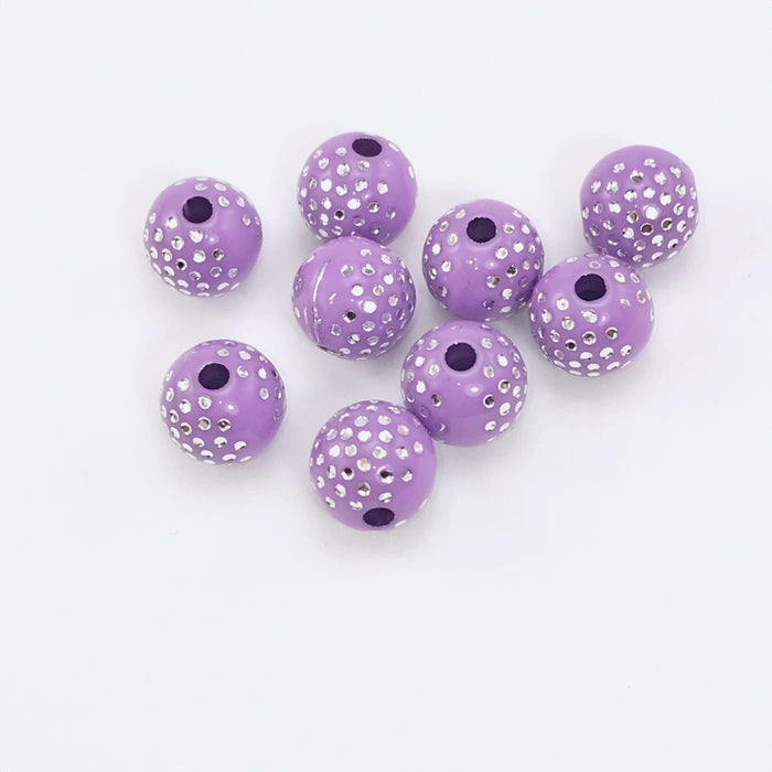 purple colour beads with silver sparkles
