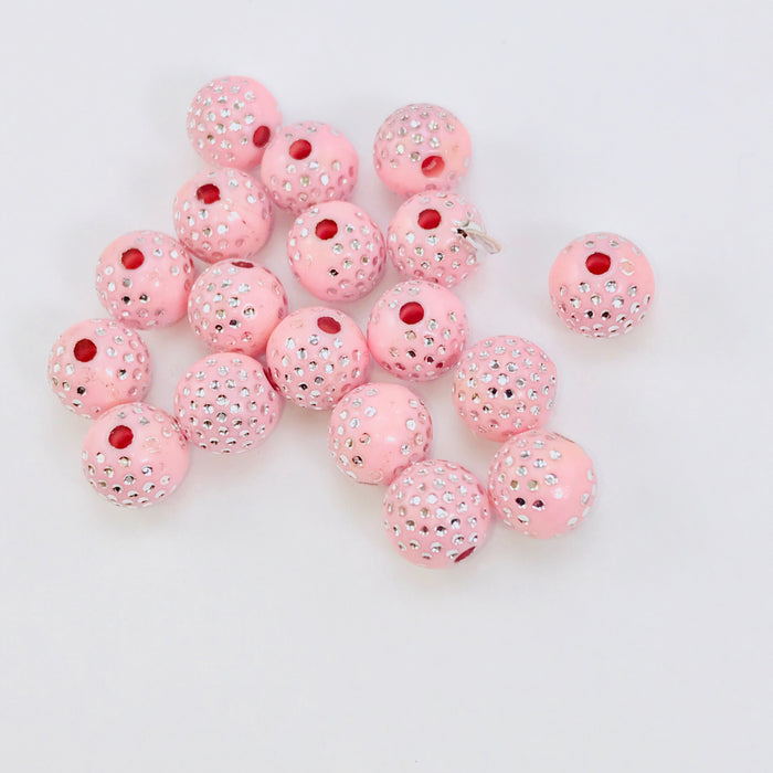 light pink acrylic round beads with silver sparkles