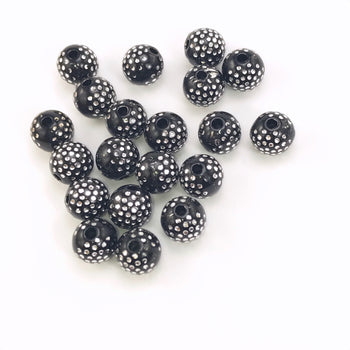 black round acrylic beads with silver sparkles