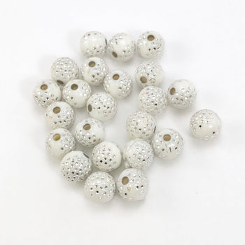 White acrylic round beads with silver sparkles