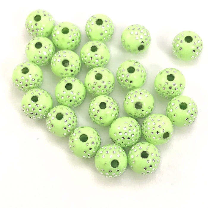 green round acrylic beads with silver sparkles