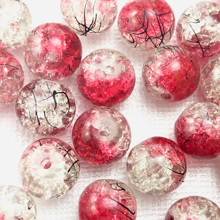 round red and clear glass jewelry beads