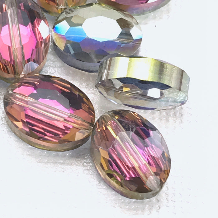 Oval Crystal Purple and Green AB Faceted Beads, 12mm - 10 Pack
