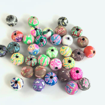 8mm Polymer Clay Beads With Assorted Patterns - 33 Pack