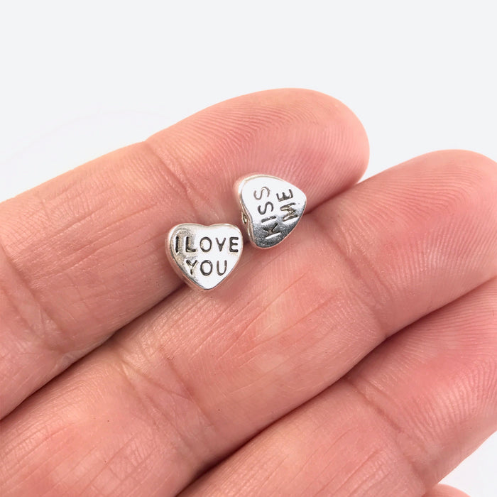 8mm I Love You Kiss Me Heart Shaped Beads, Silver- 20 Pack