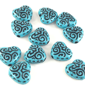 Blue Heart Shaped Acrylic Beads, 15mm - 20 Pack