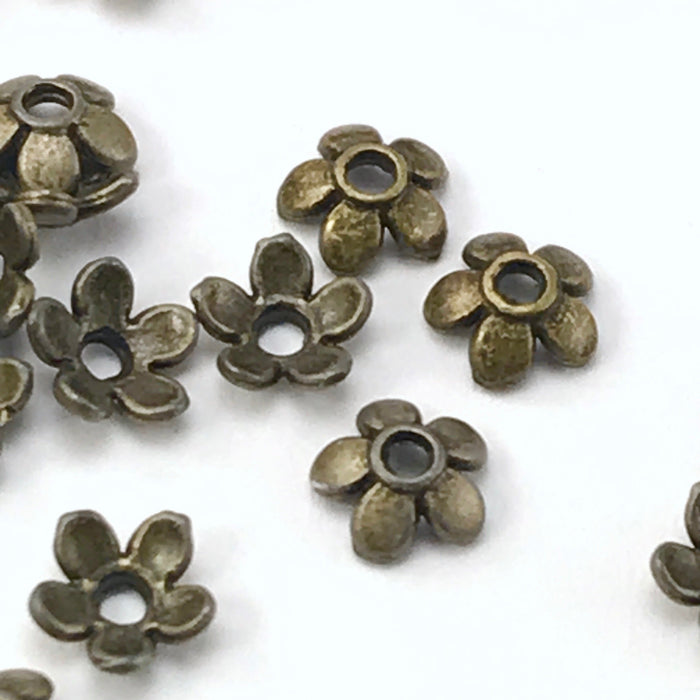 bronze colour bead caps shaped like flowers