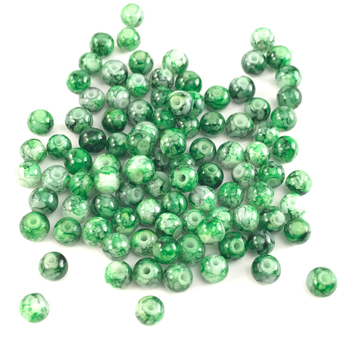 CLEARANCE! 4mm Glass Jewelry Beads With Green Marbled Pattern, 4mm - 100 Pack