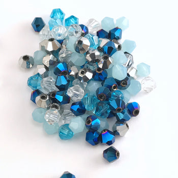 mixed colour bicone beads in blue, silver, clear colours