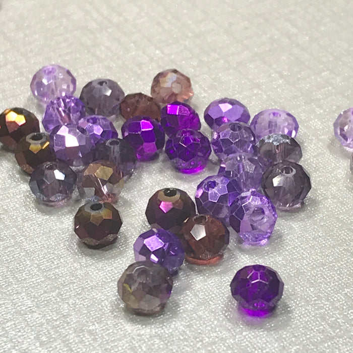 mixture of different shades of purple jewerly beads