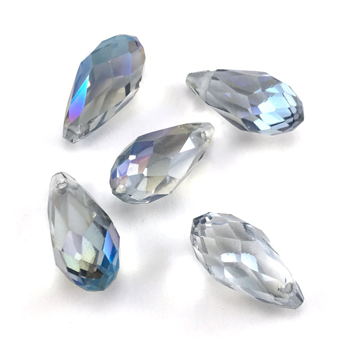blue and clear coloured teardrop shaped jewerly beads