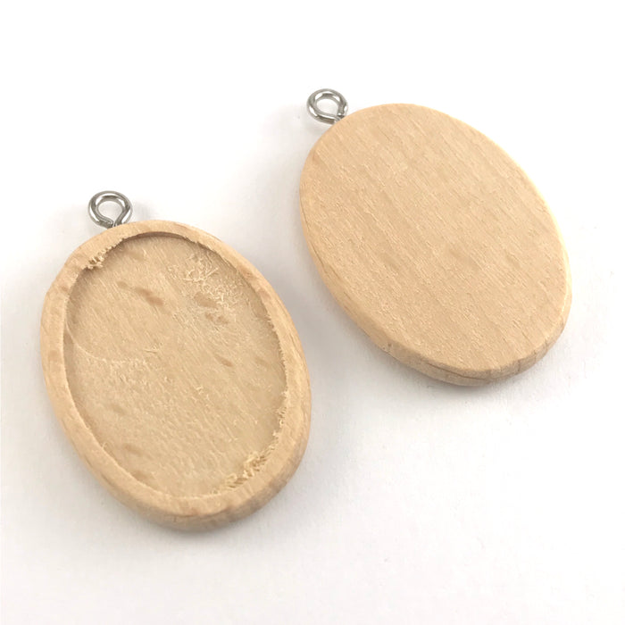 front and back of wooden pendant trays