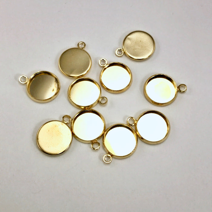 gold colour 12mm cabochon trays