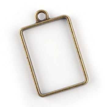 rectangle shape open bezel for jewelry making with resin