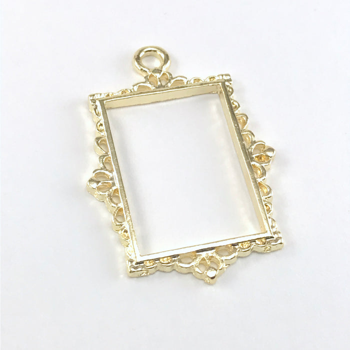 open resin bezel in a rectangle frame shape