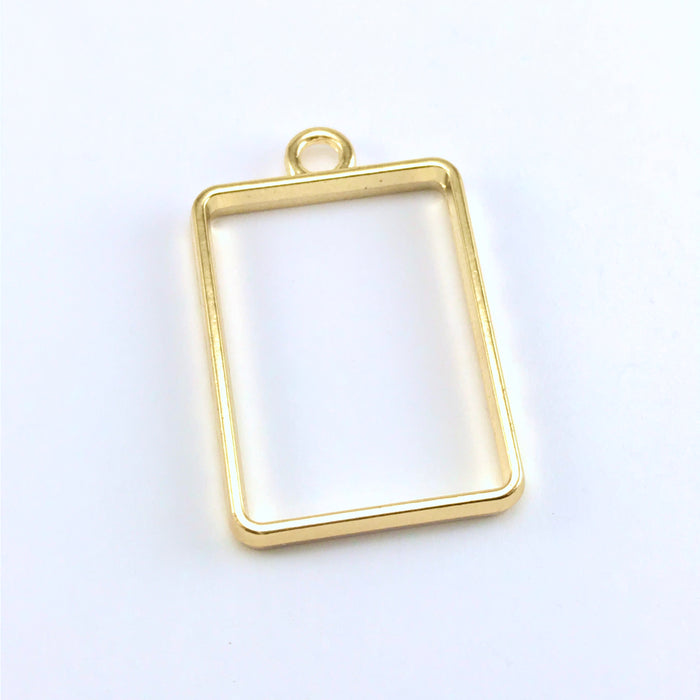 rectangle gold colour open bezel with loop