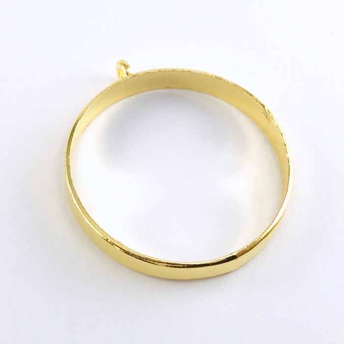 round shape gold colour open back bezel