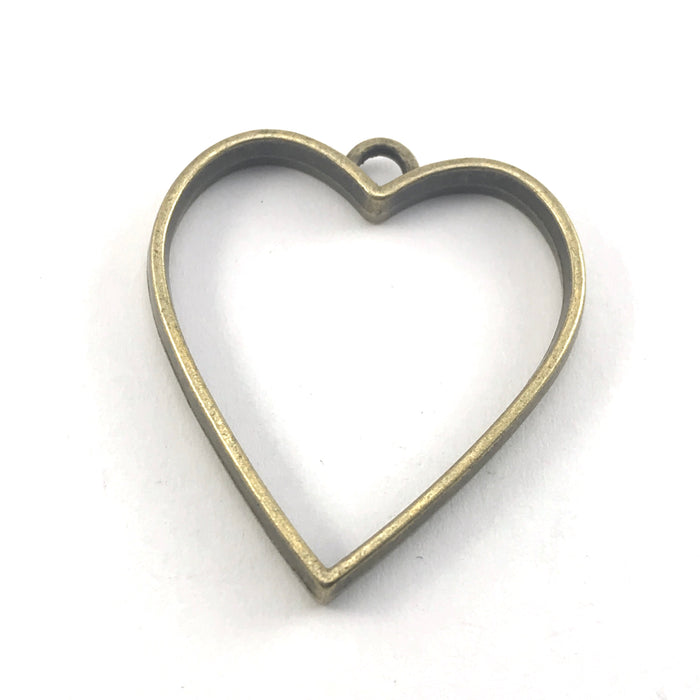 Bronze colour heart shaped open back bezel