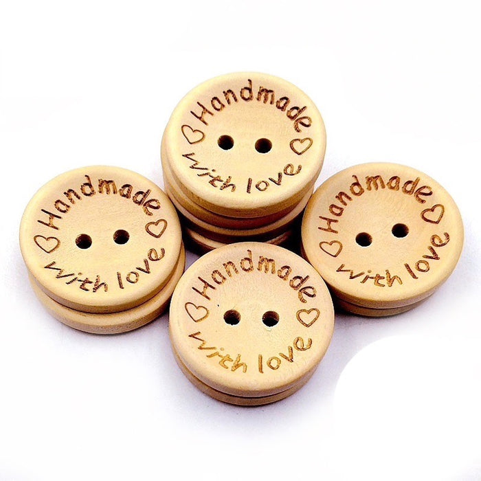 Handmade With Love Wooden Buttons, 20 mm - 20 Pack