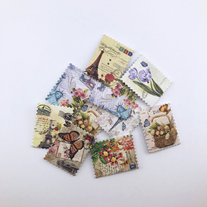 wooden buttons that look like vintage stamps