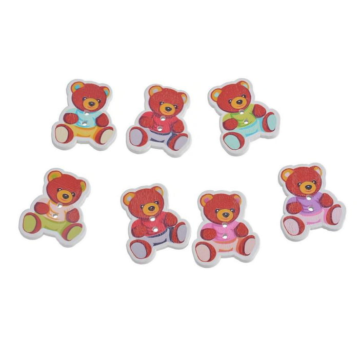 multi coloured wooden buttons that look like teddy bears