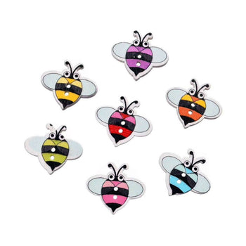 wooden bee shaped buttons in various colors