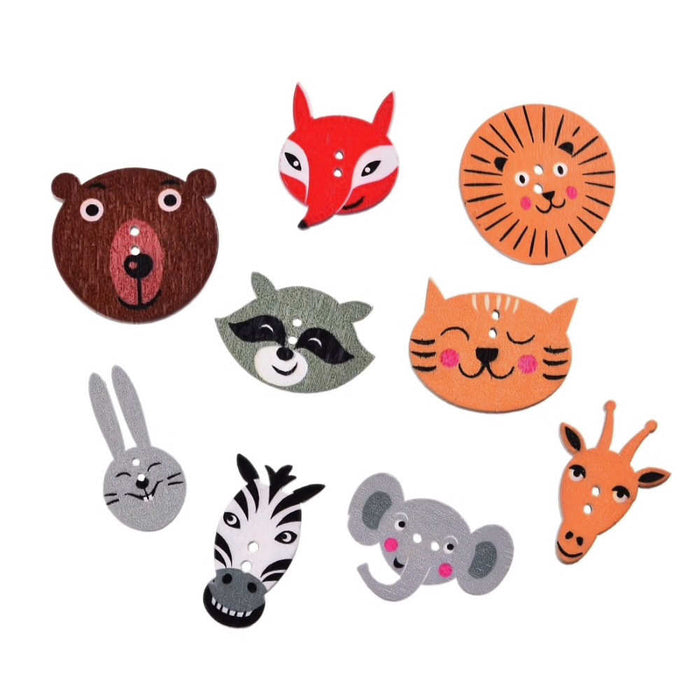 Mixed Animal Wood Buttons - 10 Pack