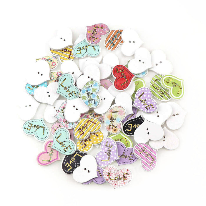 Heart Love Wood Buttons, 25mm - 10 Pack