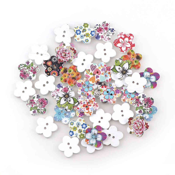 Flower Wood Buttons, 18mm - 12 Pack
