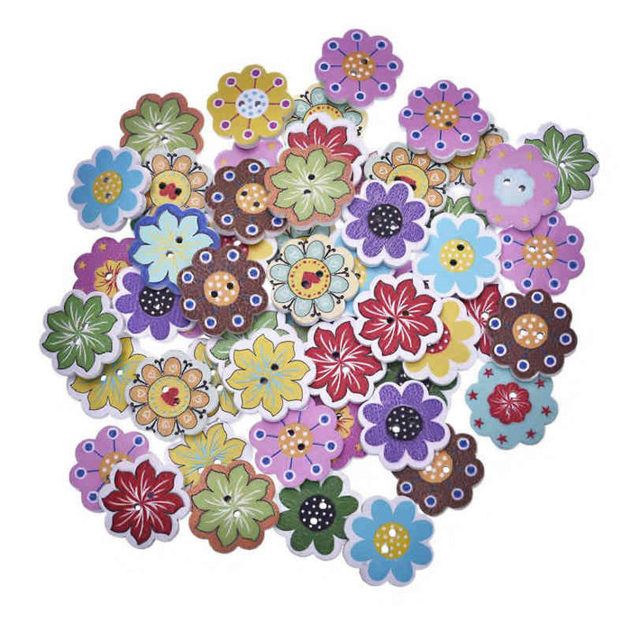 Flower Wood Buttons, 20mm - 10 Pack