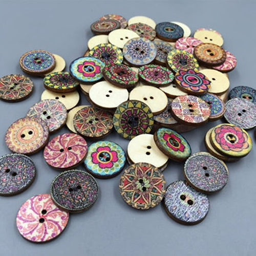 Round Mixed Colour Wood Buttons, 15mm - 15 Pack