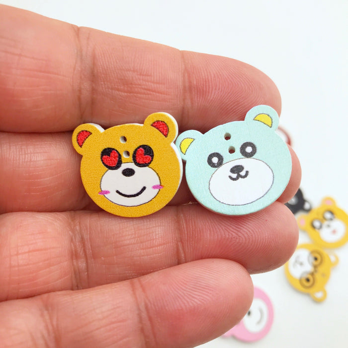 Bear Shaped Multicolour Wood Buttons, 20mm  - 10 pack
