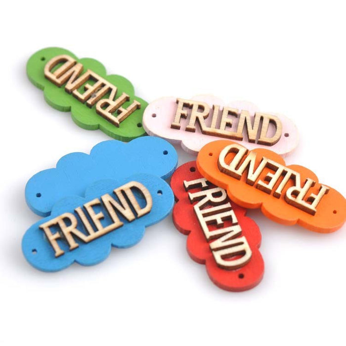 Large Wood Friend Buttons, 5cm - 5 Pack