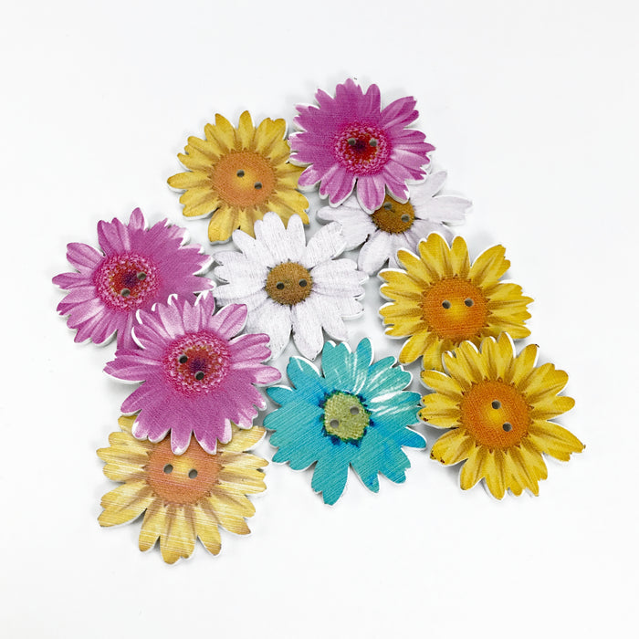 Large Sunflower Wooden Buttons, 35mm - 10 Pack