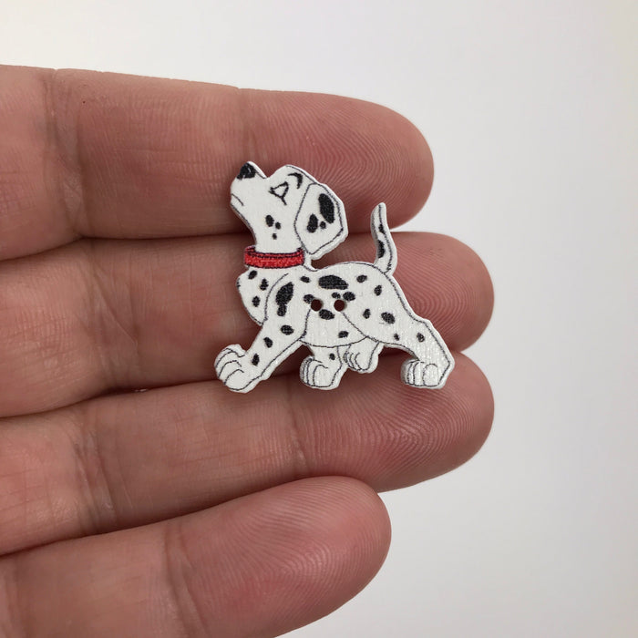 Dalmatian Dog Assorted Wood Buttons, 38mm - 10 Pack