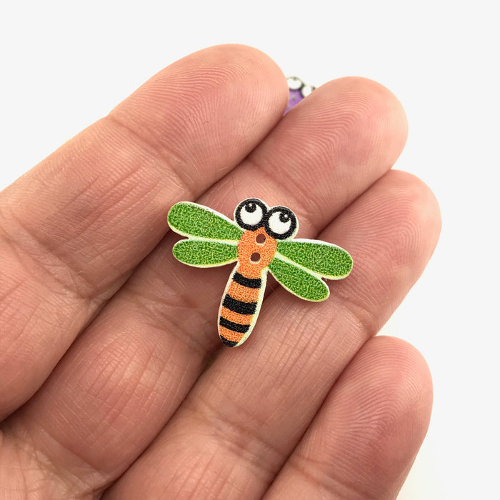 Wooden Dragonfly Buttons, 25mm - 10 Pack