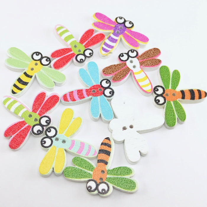 10 multi coloured wooden buttons shaped like dragonflies