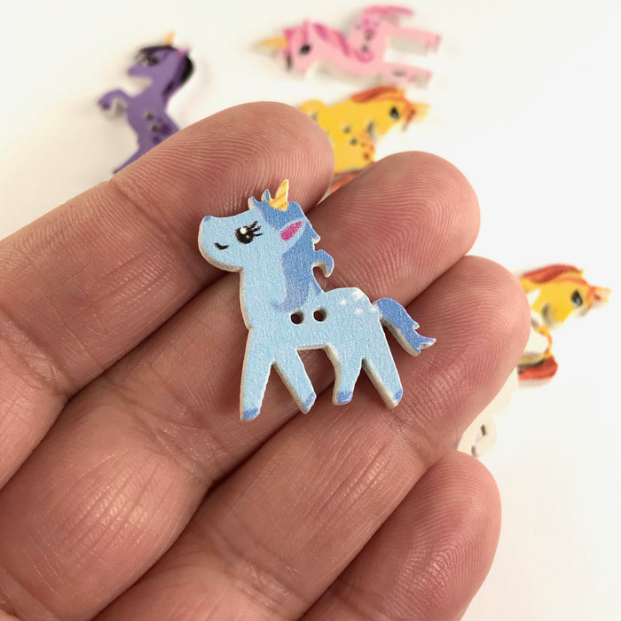 Wooden Horse Buttons, 25mm - 10 Pack
