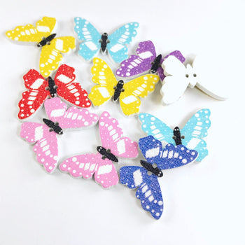 10 butterfly shaped wooden buttons that are assorted colours