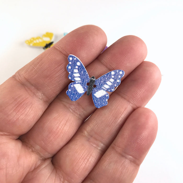 Wooden Butterfly Buttons, 25mm - 10 Pack