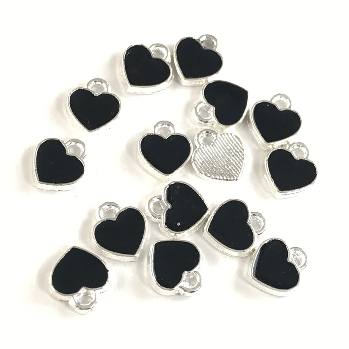 black and silver heart shaped jewerly charms