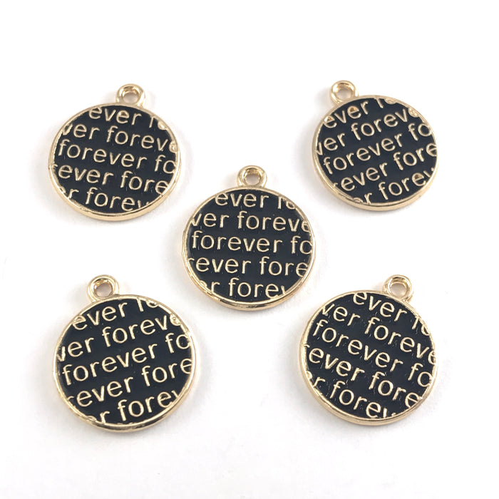 round black and gold charms with the word forever on them