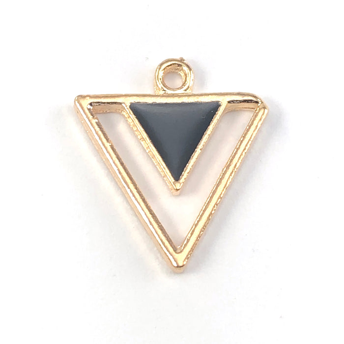 black and gold triangle shaped jewerly charms
