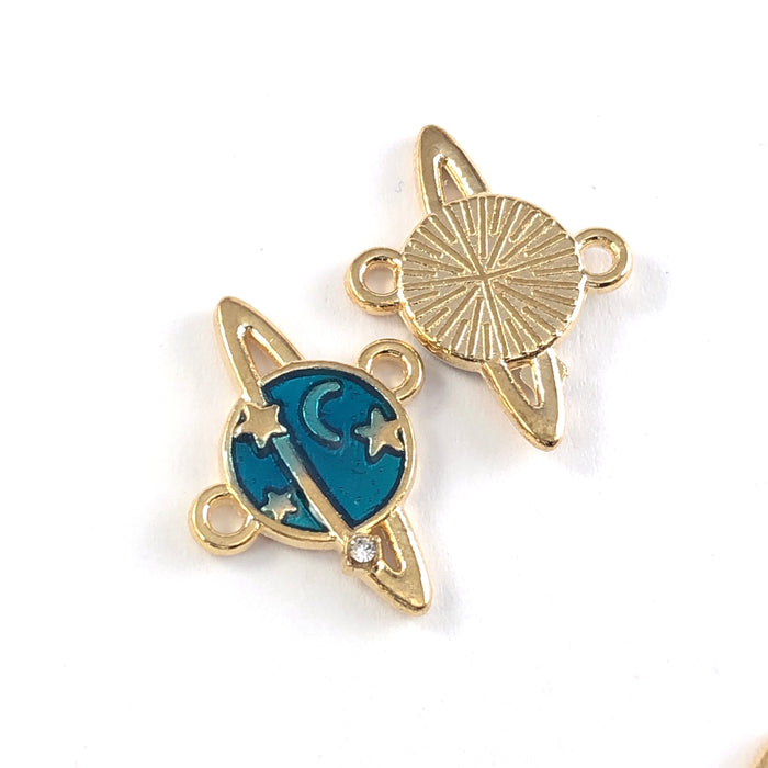 front and back of blue and gold jewerly charms that look like planets